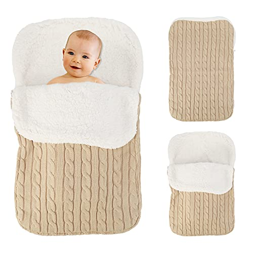 Manta para bebé recién nacido, manta gruesa y cálida para cochecitos de punto, terciopelo de felpa, saco de dormir de lana para bebé, saco de dormir, cochecito, urdimbre para niña o niño