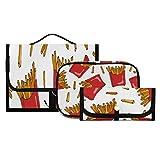 3 pezzi Borsa per trucco Borsa da toilette Borsa per pennelli Custodia cosmetica portatile Organizer da viaggio Borsa da lavaggio resistente all'acqua Per donne Ragazze Uomo Donna, Patatine fritte cr