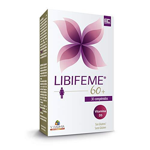 LIBIFEME 60+ Pastillas Menopausia - Novedad Toma Oral Fito Estrogenos naturales para mujeres maduras - Protector intimo que mejora la lubricacion e hidratación de la piel y mucosas - Tratamiento 1 mes