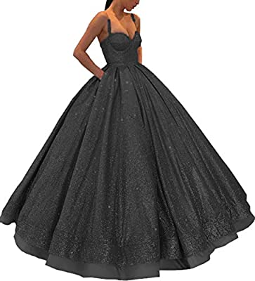 Meijia Long Prom Quinceanera Dresses 2019 Spaghetti Strap Evening Party Ball Gowns for Wedding ME066 Black