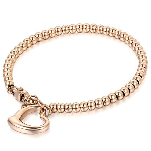 JewelryWe Schmuck Charme Damen Kugel Perlen Armband,Handgelenk Kugel Perlenkette mit Herz Anhänger, Edelstahl Armreif, Rosegold