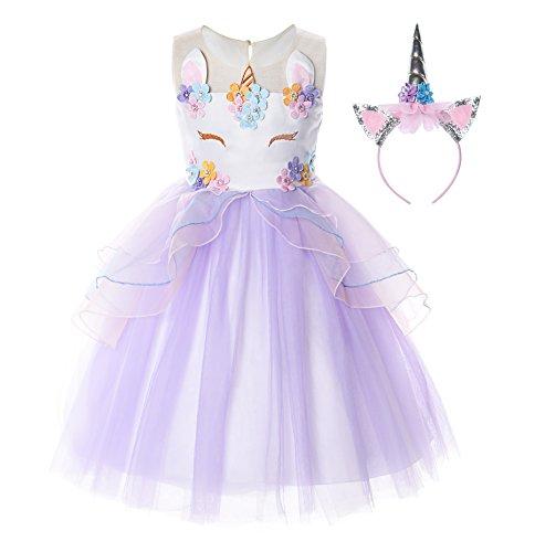 JerrisApparel Flower Girls Unicorn Costume Pageant Princess Party Dress (2T, Purple)