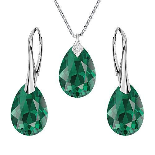Beforya Paris - Birne - Schmuck-Set - Viele Farben - Silber 925 Schön Damen Schmuckset mit Kristallen von Swarovski Elements - Wunderbare Schmuckset mit Geschenkbox PIN/75 (Emerald)
