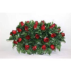 XL Red Roses Artificial Silk Flower Cemetery Tombstone Grave Saddle