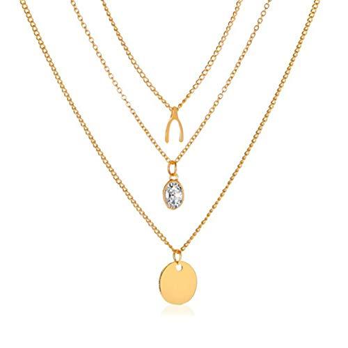KKAAMYND Creativa cadena de tres capas, gargantilla simple Fashion Zircon Disc Retro Gargantilla Gargantilla larga para mujer (oro) este collar de Navidad para madre