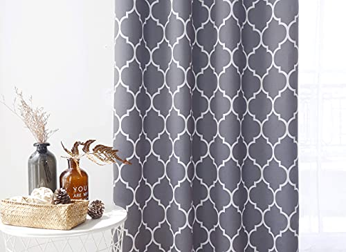 Utopia Bedding Grommet Printed Blackout Curtain, Thermal Insulated Curtains for Bedroom, W52 X L84 Inches, Patterned Grey