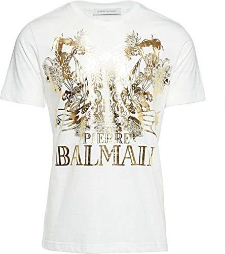 Pierre Balmain Herren Shirt Motiv T-Shirt Koi Fish, Farbe: Weiss, Größe: 46