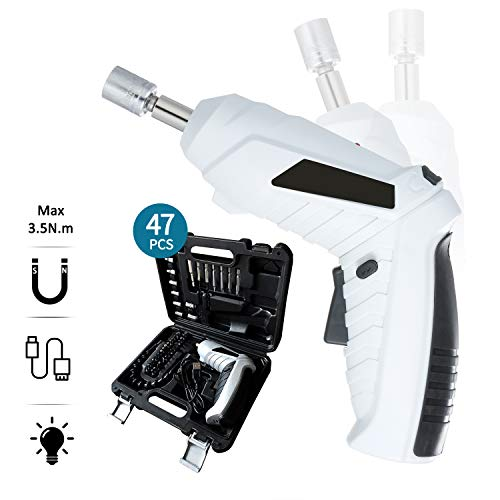 Atornillador eléctrico bateria,Destornillador eléctrico 47pcs taladro atornillador inalámbrico USB recargable