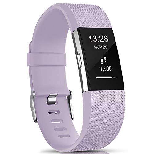 Gogoings Compatibile per Fitbit Charge 2 Cinturini - Braccialetto di Ricambio Morbido Regolabile Sport Cinturino Compatibile con Fitbit Charge2 per Donne e Uomini (Small: 5.5' - 6.7', Lavanda)