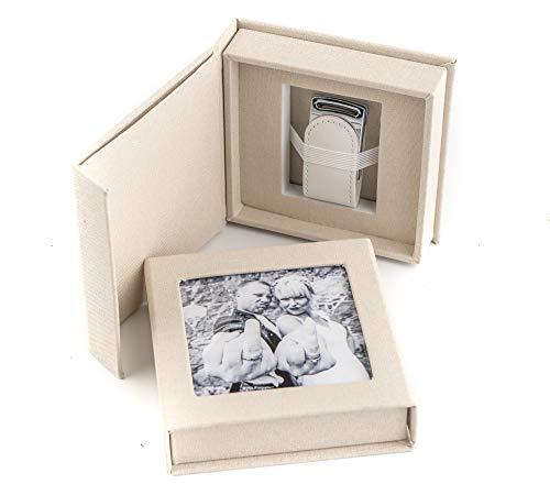 codiarts. Memoria USB 3.0 de 16 GB en Elegante Caja USB con Ventana de Imagen. para Bodas, fotógrafos, Recuerdos de Vacaciones, Regalo (Crema).