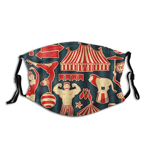 Zirkussterne für Clown Strongman Twins Pattern Winddichte Anti Pollution Face Shields Schal Waschbare und Wiederverwendbare Stirnbänder Kopfbedeckungen