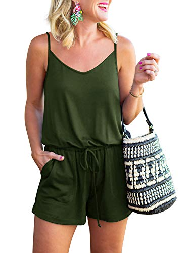 REORIA Womens Casual Summer One Piece Sleeveless Spaghetti Strap Playsuits Short Jumpsuit Beach Rompers Army Green Large