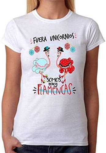Camiseta Fuera Unicornios Somos Muy flamencas Camiseta de Algodon