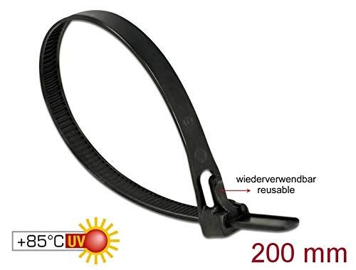 DELOCK kabelbinders herbruikbaar hittebestendig L 200 x B 7,5 mm 100 stuks zwart