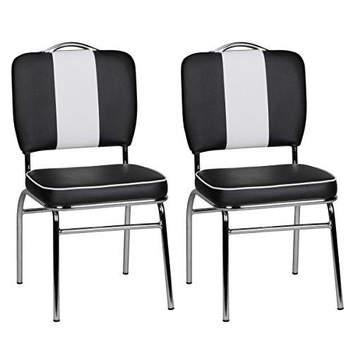 FineBuy 2er Set Esszimmerstühle King American Diner 50er Jahre Retro 2 Stühle | Sitzfläche gepolstert mit Rücken-Lehne | Essstuhl Doppelpack Farbe Schwarz Weiß