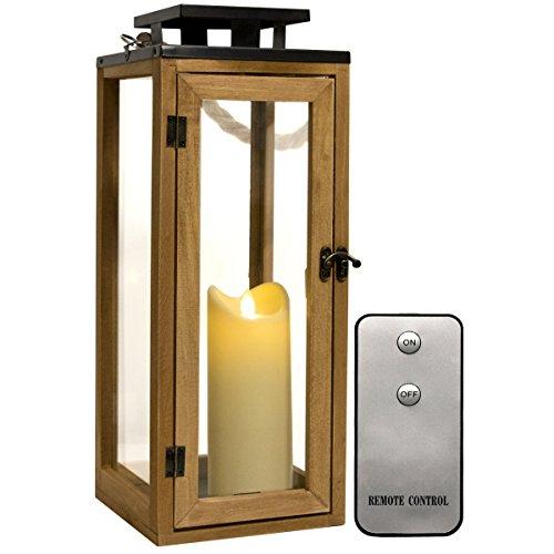 Dekovita Holz-Laterne 42cm Temperglas Gartenlaterne inkl Tronje 18cm Outdoor LED-Kerze Weiß m. Timer u. Fernbedienung