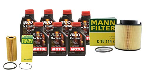 Newparts 7L Motul 8100 XCLEAN 5W40 Mann Filter Motor Air Oil Change Kit SQ5 3.0L Super for Audi SQ5 3.0L V6 Supercharged FI CTUD 2014-2017 CTUD, CGQB; VW 502.00/505.01/505.00; Supercharged