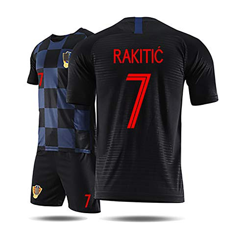 Kinder Fußballuniform 2018 Worild Cuo Kroatien Modric iersev, Erwachsene Kinder Bovs Fußball Jersev Kits Fußball Trikot T-Shirt und Shorts Team Trainingsuniformen-7#Black-L