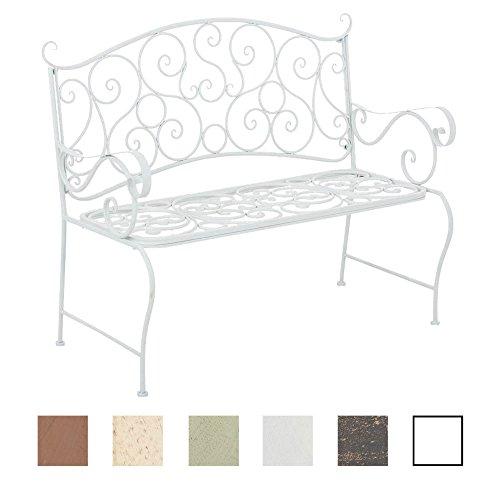 CLP Metall Gartenbank TUAN, 2-er Sitz-Bank Garten, Eisen lackiert, Design nostalgisch antik, 105 x 50 cm Weiß