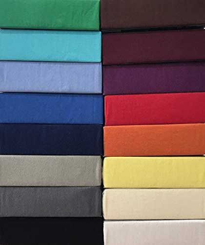 Leonado Vicenti - Jersey 100% Baumwolle Spannbettlaken Spannbetttuch extra geeignet für Topper mit 10cm Steghöhe, Maße Spannbettlaken:180 x 200 cm - 200 x 200 cm, Farbe Spannbettlaken:Schwarz