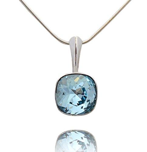 Crystals & Stones *VIELE FARBEN* *SQUARE* - Anhänger mit Silberkette aus 925 Silber mit original Swarovski® Elements - Halskette mit Schmucketui (Aquamarine)