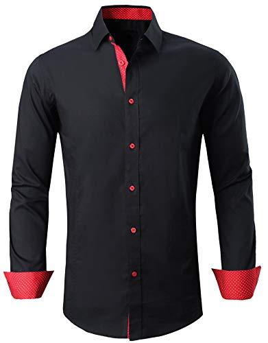 Esabel.C Men's Dress Shirts Long Sleeve Regular Fit Business Casual Button Down Shirts Black M