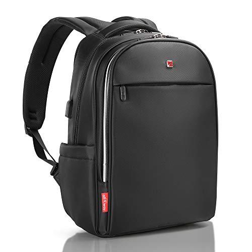 """all4way Mochila Portátil Antirobo negra - RFID bloqueo Puerto de carga USB - SWISS Diseño Mochila Negocio Universidad Viajar - Mochila impermeable para hombres, mujeres, modelo nuevo de 15,6"""""""