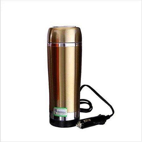 Bouilloire électrique pour voiture Bouilloire 12 volts Chauffe-éclair Chauffe-tasse Isolation au vide en acier inoxydable-Or Bouteille isotherme , 3