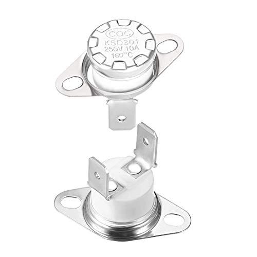 Termostato DyniLao KSD301 160 ° C / 320 ° F 10A normalmente cerrado NC Ajuste el interruptor de temperatura del disco a presión 2 uds