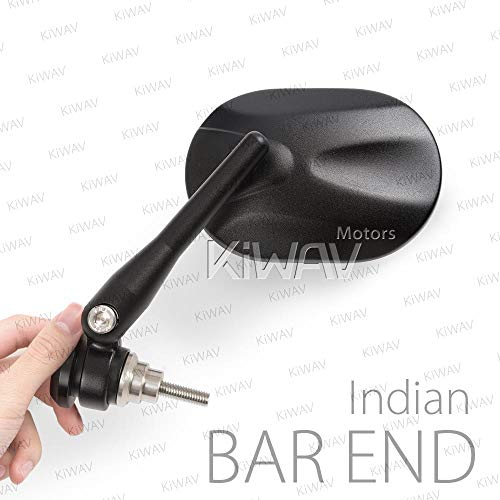 KiWAV Magazi Stark Black Motorcycle Bar End Mirrors E-Mark Compatible with Indian Scout Bobber