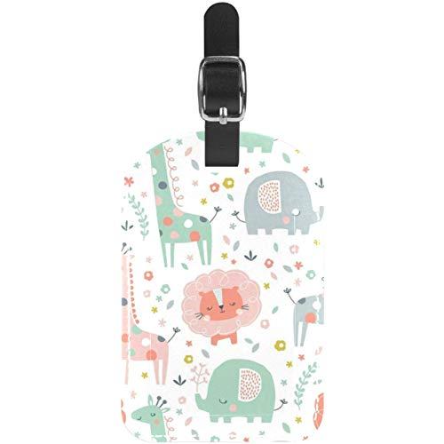 Etiquetas para equipaje de viaje, diseño de jirafa, gato, elefante, zoológico, de piel, 1 paquete