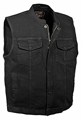 Milwaukee Leather Men's Concealed Carry Denim Club Style Vest w/Hidden Zipper (3X) from