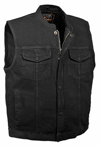 Milwaukee Leather Men's Concealed Carry Denim Club Style Vest w/Hidden Zipper
