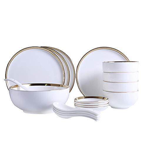 JHSHENGSHI Plato de Cena de cerámica Juego de vajilla de Cocina de 18 Piezas, Platos, tazones, Servicio para 4, Blanco,...