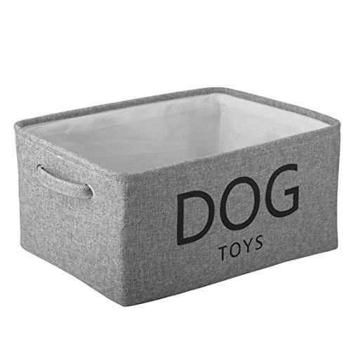 MOREZI Caja de almacenamiento de lona para juguetes para mascotas, utilizada para guardar juguetes para perros y gatos, ropa, comida seca y otros suministros-Gris