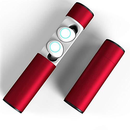 SAILORMJY Bluetooth Oordopjes Draadloze Bluetooth 5.0 Hoofdtelefoon Sport Waterdichte Oortelefoon Echte Draadloze Hoofdtelefoon met Opladen Case en Microfoon Stereo Mode Rood