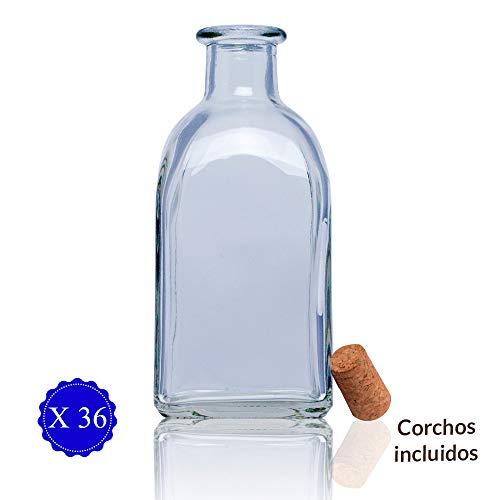 Frascas Botella vidrio+tapon de corcho/botellitas de Cristal con corcho. Frasca 250: licor, aceite, agua, vino, whisky. Frascos detalle boda/bautizos