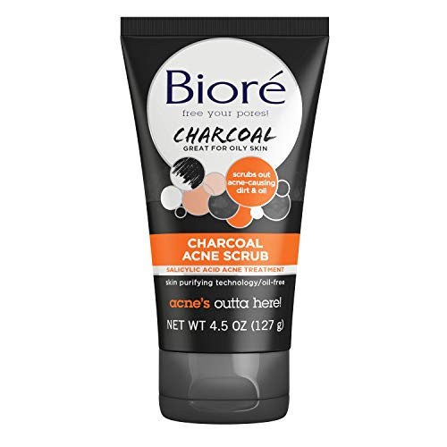 Bioré Charcoal Acne Face Scrub, 4.5 Ounce, with 1% Salicylic Acid and Natural Charcoal, Helps Prevent Breakouts, for Deep Pore Cleansing, Maskne Treatment
