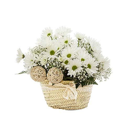 Florclick - Capazo esparto con margarita blanca. Capazo Silvestre de flores.