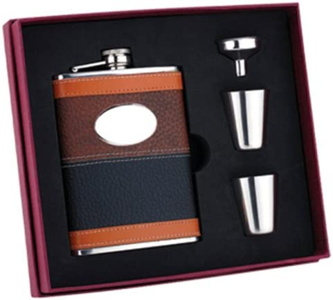 Personalized Set Leather Wrap 8oz Stainless Steel Flask Funnel and Shot Glass Groomsman Gift product image