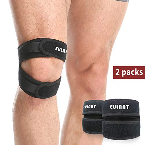 EULANT Patella Bandage, Einstellbare Knieschutz, 2 Stück Patella Kniebandage für Laufen, Springen, Basketball, Wandern,Trekking,Outdoor Sport