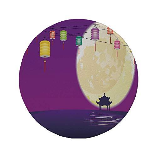 Rutschfreies Gummi-rundes Mauspad Laterne Pavillon im chinesischen Stil in Vollmondnacht zur Feier des dekorativen Mittherbstfestes Violettes Nachtblau 7,87 'x 7,87' x 3 mm