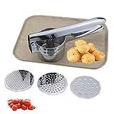 Machacador de patatas de acero inoxidable tres en uno multifunción manual para alimentos cocidos, triturador de frutas y verduras, zanahoria, patata tomate (26,5 x 10 cm)