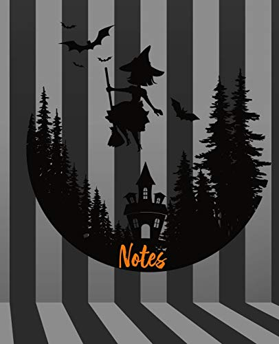 Notes: Black and Gray Striped Witch Notebook|7.5 x 9.25|110 Pages|Wide-Ruled| Perfect for Halloween or Fun Party Favor|Use for Notes, Ideas, School, To-Do-List,Creative Ideas