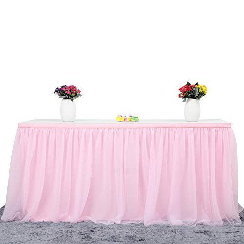 Suppromo 6ft Pink Tulle Table Skirt for Rectangle or Round Tables Tutu Table Skirt Tableware for Baby Shower Girl Gender Reveal Wedding Birthday Party Cake Dessert Decorations(L6(ft) H 30in, Pink)
