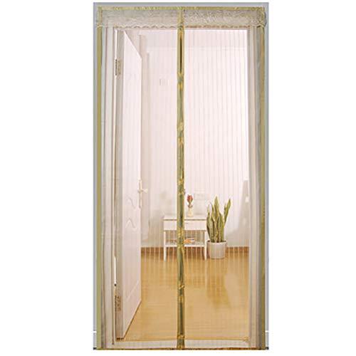 HUTUpc Flugnät magnetisk gardinför dörr med slitstark nätgardin, robust och hållbar, fristålig, djurvänlig, beige, 120 x 240 cm