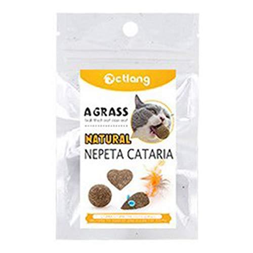 HOBFUUK - Palla per la Pulizia dei Denti di Erba gatta per Gatti, Snack, Bastoncini Naturali di Menta e Lecca-Lecca