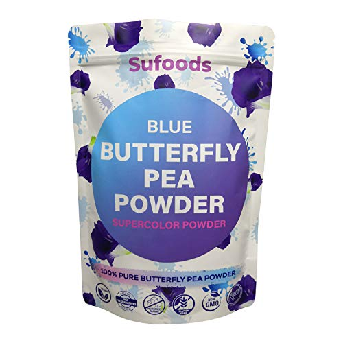 Sufoods 100% Pure Blue Butterfly Pea Flower Powder (Large 6 Ounce), Culinary Grade, Blue Matcha, Natural Food Coloring, Premium Quality Superfood by Sufoods.