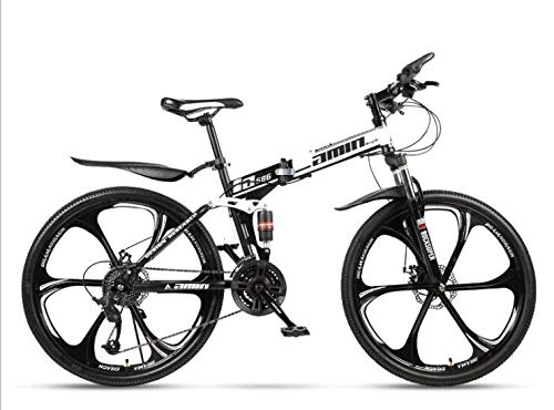COUYY British Black and White Double Damper 26 Yellow, six Double disc Cutter Wheel Folding Bike Mountain Bike Cycling Adult Female Students,30 Speed