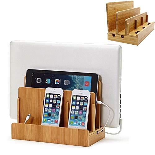 Caja De Administración De Cables, Estantes Caja De Bambú Con Fácil Acceso A Los Cables De Carga Del Teléfono, Soporte Para Control Remoto Todo En Uno, Base De Tableta Móvil